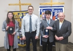 The Huntington Metro Kiwanis recently recognized eighth-graders Janna Teusch and Jared Cartwright from Crestview Middle School with the club's Outstanding Student Award. Celebrating the occasion are (from left) Teusch; Chuck Werth, principal, Crestview Middle School; Cartwright; and Jim Dinius, Metro Kiwanis and past lieutenant governor.