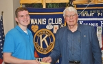 Benjamin Warpup (left) receives the Chuck Wohlford Memorial Scholarship in the amount of $1,500 from Huntington Metro Kiwanis Scholarship Chairman Don Betterly. Warpup plans to attend Indiana University to major in social studies.