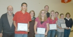 LaFontaine Arts Council artists of the month are (front row from left) Joey VanNetten, Natalie Mills, Taylor Bailey and Caleb Hadaway. With them are nominating teachers and arts council Secretary Ann Siegfried.