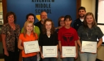 Riverview Middle School students Alexandra Short, Mackenzie Faurote, Savannah Moyer and Samantha Roller (front row, from left) received Artist of the Month awards on Wednesday, Nov. 10, from the LaFontaine Arts Council.