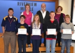 Riverview Middle School students (front, from left) Kyler Hoopingarner, Layla Martz, Spencer Atkinson and Keswick Shultz have been honored as Artists of the Month by the LaFontaine Arts Council.