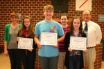 The LaFontaine Arts Council Artists of the Month are three students from Crestview Middle School. They are (front row, from left) Elaina Teusch, eighth grade, art; Fisher Kohr, eighth grade, vocal music; and Maitlyn Christman, seventh grade, band; with nominating teachers (back row, from left) Stefanie Hutchinson, art; Brittany Blazier, student teacher for John Wenning; and Doug McElhaney, band.