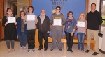 The LaFontaine Arts Council named four students from Riverview Middle School as its Artists of the Month for October. Those students are (from left) Emilie Garcia and nominating teacher Danielle Ellenburg; Jonathan York and nominating teacher James Court; Grace Null and nominating teacher Brenda Betley; and Haley Newton and nominating teacher Chris Husband.