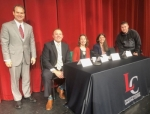 Attendees of the Life Long Learning Career Day at Huntington North High School on Nov. 8 heard five speakers discuss their careers. Speakers were (from left) Curtis Smith, former meteorologist, WPTA-21, and now Parkview Health; Seth Kimmel, financial advisor, LPL Financial; Megan Reckelhoff, JJ's; Katy Strass, executive director, Huntington Arts & Entrepreneurial Center; and Ben Whitman, resource officer, Huntington North. In addition to the speakers, the event's attendees, all of whom were local eighth-graders, visited 12 booths to learn about different career opportunities.