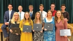 Some of the 18 area students who recently graduated from the seminary program of The Church of Jesus Christ of Latter-day Saints hold their diplomas. They are (front row from left) Emma Hunter, Alexis Harper, Jessica Henline, Rebecca Ambrose and Emma Cook; and (back row from left) Aaron Hatch, Aidan Hepworth, Alex Braun, Bryan Smith, Jackson Carlow and Mason Miller. Not pictured from Huntington County is Matthew Miller.