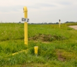 As the Huntington City Landfill is closed, vents with yellow fittings are placed around the area to allow methane gas to escape.