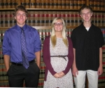 The winners of the 2014 educational scholarships presented by the law firm of Bowers, Brewer, Garrett & Wiley, LLP are (from left to right) Daniel Becker, Addison Clark and Thomas Bolinger.