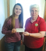 American Legion Auxiliary Unit 160 Second Vice President Bev Swaim (right) presents a check for $300 to Hollyn Anderson, co-founder of Blessings in a Backpack of Huntington County.