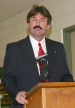Huntington County Coroner Leon Hurlburt speaks during his news conference on Friday afternoon, Feb. 12. Hurlburt has announced his candidacy for the Republican nomination for Huntington County Commissioner, seeking incumbent Jerry Helvie's seat.
