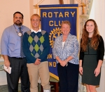 Nathan Lundy (second from left) and Regan Overholt (right) have been named Junior Rotarians for March by the Huntington Rotary Club. With them are their Rotary Club sponsors, Chuck Grable (left) and Rose Wall (third from left).