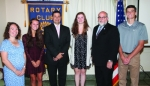 Julia Crist (second from left), Isabella Kryder (fourth from left) and Clark Kitchen (right) are the Huntington Rotary Club's Junior Rotarians for March. With them are Rotary Club sponsors Megan Reckelhoff (left), Chad Daugherty (third from left) and Brooks Fetters (fifth from left).