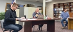 The Markle Town Council met for a regular meeting on Wednesday, Feb. 17, and gathered at the newly renovated Markle Town Hall. Featured, council members (from left) Aaron McClary, Matthew Doss and Nick Lund begin the meeting.