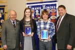 Riverview Middle School students Morgan Richison and Wilson Whicker (second and third from left, respectively) were recognized as outstanding eighth graders by the Huntington Metro Kiwanis. Pictured are (from left) Jim Dinius, Kiwanis past district lieutenant governor; Richison, Whicker and Riverview Principal Curt Crago.