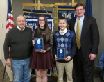 The Huntington Metro Kiwanis recently recognized two students as Riverview Middle School's outstanding eighth-graders. Pictured are (from left) Metro Kiwanis President Terry Oden, students Grace Sell and Jacob Daugherty and Jim Bragg, principal of Riverview Middle School.