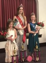 The 2018 Miss Warren, Rachel Ervin (center) is flanked by the Little Miss Warren winner, Nora McDaniel (left) and Junior Miss Warren, Lola Smith (right). The pageant was held March 11, in Warren.