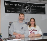 Harry (left) and Destiny Boggs are the owners of B. Leather & Bike Shop, in Huntington, which sells motorcycle apparel, accessories and parts.