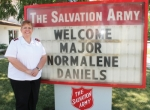 The sign in front of the Huntington Salvation Army location welcomes Maj. Normalene Daniels, who began her new assignment on June 25. Daniels says she hopes to improve on the already-solid foundation that was laid by previous Salvation Army officers.