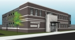 Architect's drawing for the new City of Huntington Police Department building. The 17,000-square-foot building will be constructed in the north end of the city parking lot on Cherry Street at an estimated cost of  $4.8 million.
