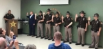 Huntington County Sheriff Chris Newton (far left) administers the oath of office to seven new reserve deputies during a ceremony on Wednesday, Sept. 4. Pictured are (from second left) Adam D. Spafford, James A. Morris Jr., Logan G. Boyer, Grace A. Bolinger, Joseph A. Dyar, Charles A. Bowling and Jarrod E. Davenriner.