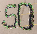 "Northwest Elementary School students form a huge ""50"" on the school's parking lot to celebrate Northwest's 50th anniversary. An open house and complimentary dinner are set for May 6 at the school."