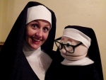 """Jana Henly, who plays Sister Mary Amnesia in the Pulse Opera House production of """"Nunsense,"""" poses with a puppet in a scene from the comedy. """"Nunsense"""" opens May 1 at the downtown Warren theater."""