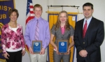 The Huntington Optimist Club presented its Youth Appreciation Award to Caleb Stoffel (second from left) and Erin Rethlake (third from left).