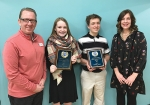 Crestview Middle School students Kianna Jennings (second from left) and Samson Vickrey (third from left) hold the 2019 Youth Appreciation Awards presented to them by the Huntington Optimist Club on Feb. 21. With them are Huntington Optimist Club President Tim Allen (left) and Crestview Guidance Counselor Lisa McDonald (right).