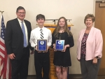 The Huntington Optimist Club 2018 Youth Appreciation Awards were presented to Riverview Middle School students Isabel Niswander and Jonathan York. Celebrating the occasion (from left) are Riverview Principal James Bragg, York, Niswander and Huntington Optimist Club President Paula Whiting.