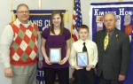 Page Coolman (second from left) and Cameron Buzzard (third from left) were named Outstanding Eighth Graders by the Huntington Metro Kiwanis Club. With them are Salamonie School Principal Rick Reed (left) and Jim Dinius (right), past Kiwanis Lt. Gov.