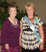 Nondus Christman (right), of Huntington, was named National Psi Ote of the Year during Psi Iota Xi Sorority's national convention in June. With her is Diana Lamb, the sorority's national president.
