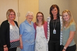 Olivia Eckert and Miranda Smart (third and fifth from left, respectively) celebrate receiving Parkview Huntington Hospital Guild scholarships with (from left) Melanie Hull, volunteer coordinator, Parkview Huntington Hospital; Carol Strickler, chair, Parkview Huntington Hospital Guild scholarship committee; and Juli Johnson, president, Parkview Huntington Hospital.