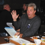 Don Patmore, chairman of the Huntington County Republican Party, reads election results during a GOP gathering at The Berg Ale Haus, in Huntington, on Tuesday evening, Nov. 8. Photo by Steve Clark.