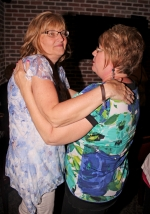 Vicki Pearson (left), the Republican nominee for Huntington County Recorder, receives congratulations on her victory from current recorder Cheryl Schenkel at the Huntington County Republican Party viewing party on Tuesday, May 8, at the Roanoke Village Inn.