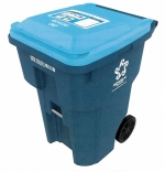 About 6,500 blue 96-gallon containers such as this one will be delivered to Huntington city residents this week, as curbside recycling returns after nearly a 10-year hiatus. Customers will also receive information as to their pickup day, which will occur every two weeks, and types of materials that can be recycled.