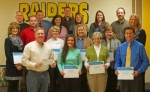 Riverview Middle School teachers were recently awarded grant money from CF Industries. Celebrating the occasion are (front row from left) Brad Gordon, of CF Industries; and teachers Meghan McElhaney, Lisa Nightingale, Mycal Rodenbeck and; (second row from left) Marta Waldfogel, Cari Whicker, Brandi Cross, Jill Spenner, Deb Daugherty and; (third row from left) Blake Childs, Melanie Park, Rochelle Kennedy, Kelsey Knox, Steve Park and; (fourth row from left) Dave Goodmiller, Les Hoffman and Mike Beaver.