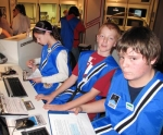 Riverview Middle School seventh-graders (from left) Savannah Moyer, Brandyn Roberts and Jared Bartrom were among a group that traveled to the Brownsburg Challenger Center to participate in a simulation spacecraft landing on Nov. 20.
