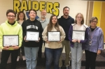 The LaFontaine Arts Council October Artists of the Month are four Riverview Middle School students, (front row from left) Aidan Beaver, choir; Andrew Crider, band; Kiersten Arivett, TV; and Gabriella Martinez, visual art. Celebrating the occasion are Riverview teachers (back row from left) Danielle Webb, James Court, Chris Husband and Brenda Betley.
