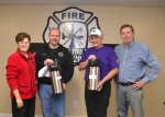 The Roanoke Lions Club, with support from the Jackson Township trustee's office and Lassus Brothers Handy Dandy, will deliver sandwiches and hot drinks to the Roanoke Volunteer Fire Department when the firefighters are on the scene of a major structure fire. Cementing the partnership are (from left) Jackson Township Trustee Sheila Hines, Roanoke Fire Chief Chad Taylor and Roanoke Lions Club members Charlie Crawford and John Perkins.
