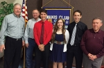Members of the Roanoke Kiwanis Club congratulate the 2016 scholarship recipients during a recent meeting. Pictured (from left) are Paul Roth, Roanoke Kiwanis Scholarship liaison; Alan Amick, Roanoke Kiwanis president; scholarship winners Jacob Vinson, Meghan Underwood and Alex Hosler; and Rick Hartley, Roanoke Kiwanis member representing the DeLoss Hartley family.