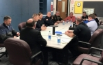 Local law enforcement officials meet with the Huntington County Community School Corporation School Safety Team recently. HCCSC will hold a school safety meeting for the public at Huntington North High School on Tuesday, April 3, at 7 p.m. in the auditorium.