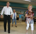 Carl Turner, of Andrews (left), gives directions as the Senior Center Line Dancers go through their paces at the Huntington County Senior Center Monday, May 12. The group will perform at the Huntington County Senior Expo on Thursday, May 22.