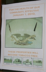 Seven signs, like the one above, have been posted on the Huntington Cunty Courthouse entrances to make sure citizens are aware of the tobacco ban on county-owned properties.