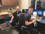 Parkview Huntington Hospital sleep techs David Ford (left) and Aaron Nuest ready the control room before the lab's new location in the basement of PHH welcomes its first patient.