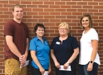 The following individuals have been awarded scholarships from the Souder Memorial Education Fund. They are (from left) Garrett Trout, Tina Purcell and Linda Musselman. They are accompanied by Carin Vickrey (at right), human resources director at Heritage Pointe of Warren.