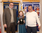 Ella Hall, a sixth-grade student from Riverview Middle School (center) displays the plaque she received after winning the 2018 Huntington County Spelling Bee, Monday, Feb. 5, at Huntington University. Celebrating with her are (at left) the pronouncer of the contest, Dr. Luke Fetters and Jim Lewis, representing the Huntington Metro Kiwanis Club, which sponsors the event. Hall is the daughter of Rick and Tabby Hall, of Huntington.