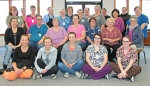 Staff members of St. Anne Communities at Victory Noll pause to celebrate the facility having received a deficiency-free annual survey for 2018 from the Indiana State Department of Health. Pictured are (front row from left) Rochelle Phillips, Megan Adkins, Missy Turner, Olivia Hartwig and Shawnacy Lake; (second row from left) Joy Benson, Jim Lund, Beverly Bidwell, Cheryl Warner, Sheryl Pattison, Laura James and Ellen Chambers; (third row from left) Robin Bosell, Gail Cocklin, Barb Steineman, Linda Larr, Kay Gargiulo, Pam Jones, Hyonok Felts and Kimberly Hamilton; and (back row from left) Anne Crawley, Theresa Kitt, Cindy Hubartt, Stanna Bippus and Courtlyn Hall.
