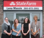 Lena Massie State Farm, in Roanoke, is open for business. Pictured are (from left) Cristina Kern and Leah Hayes, team members; Massie; and Cathy Beard, team member.