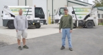 Drivers Kyle Updike (left) and Pat Scheiber stand in front of the City of Huntington's expanded fleet of street sweepers, which includes a recently added 2017 machine (left) in addition to the 2013 street sweeper that was previously the city's only street cleaning machine.