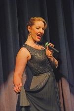 Erin Baltsar, seen performing during the 2013 edition of The Supper Club Holiday Show, returns this year as the seasonal favorite makes a comeback. She's joined by a pair of fellow New York-based performers in the show, opening Dec. 3 at The New Huntington Theater with theater co-owner Joel Froomkin serving as master of ceremonies. Photo provided.