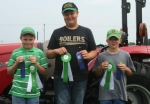 Winners of the 4-H Area XI 4-H junior tractor driving contest are (from left) first place, Colin Suchcicki, Huntington County; second place, Brady Girod, Adams County; and third place, Kolton Bailey, Noble County.